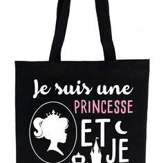 """Tote bag , sac de cours noir """"je suis une princesse"""""""