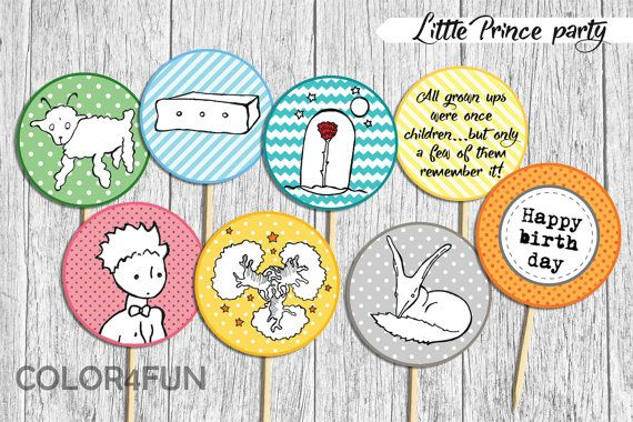 LITTLE PRINCE cupcake toppers, birthday party supplies, instant download, printable toppers, baby shower