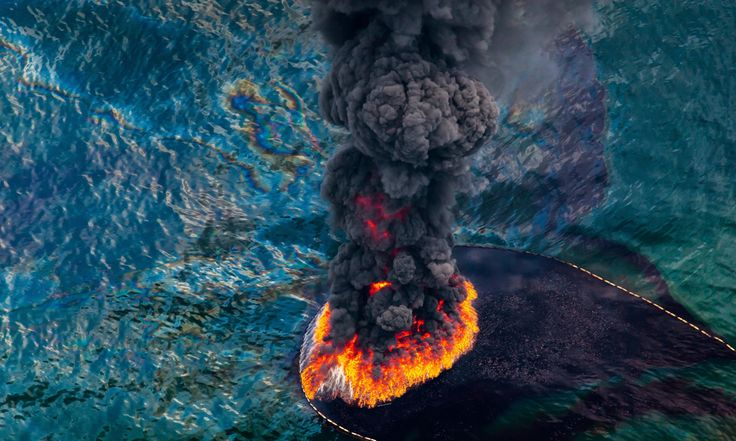 Oil spill fire Aerial view of an oil fire following the 2010 Deepwater Horizon oil disaster in the Gulf of Mexico Photograph: Daniel Beltra