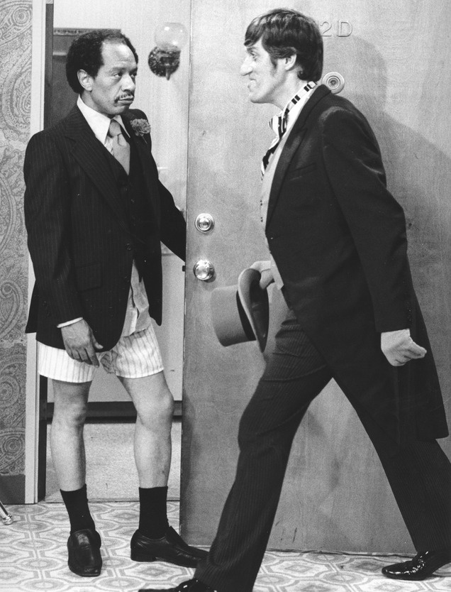 """Remembering Sherman Hemsley, shown in this 1977 photo with Paul Benedict in an episode of """"The Jeffersons.""""  (AP Photo/CBS, File)"""