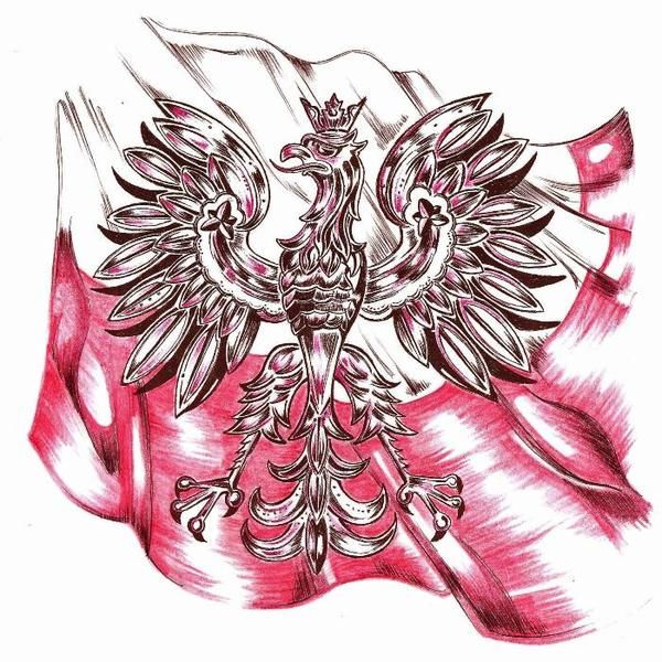 Polish eagle & flag