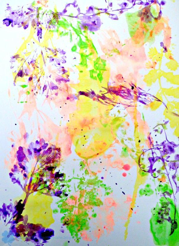 TECHNIKA PLASTYCZNA DRUKOWANIE ŚWIEŻYMI ROŚLINAMI, art technique, botanical print, funart for kids, art paper.