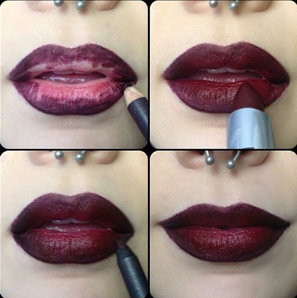 Burgundy lips. Looks great with neutral eye makeup. Great winter look.