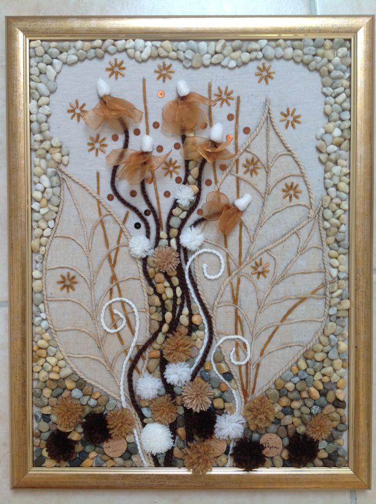 Rejtőző virágok 30/40 cm kavics-textil kép