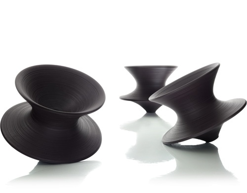polyethylene furniture. spun chair design by thomas heatherwick 2010 rotational molded polyethylene furniture