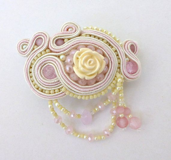 Pink and White Medium Soutache Barrette with by SpotsandDotsDesign, $50.00