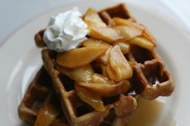 Cinnamon Waffles with Caramelized Apples   Annie's Eats...verdict: these apples were SO easy to make (and relatively quick)--I couldn't believe it.  Tasty, fragrant and beautiful!  We topped pancakes with them.  Next time I'd like to try them over vanilla ice cream.
