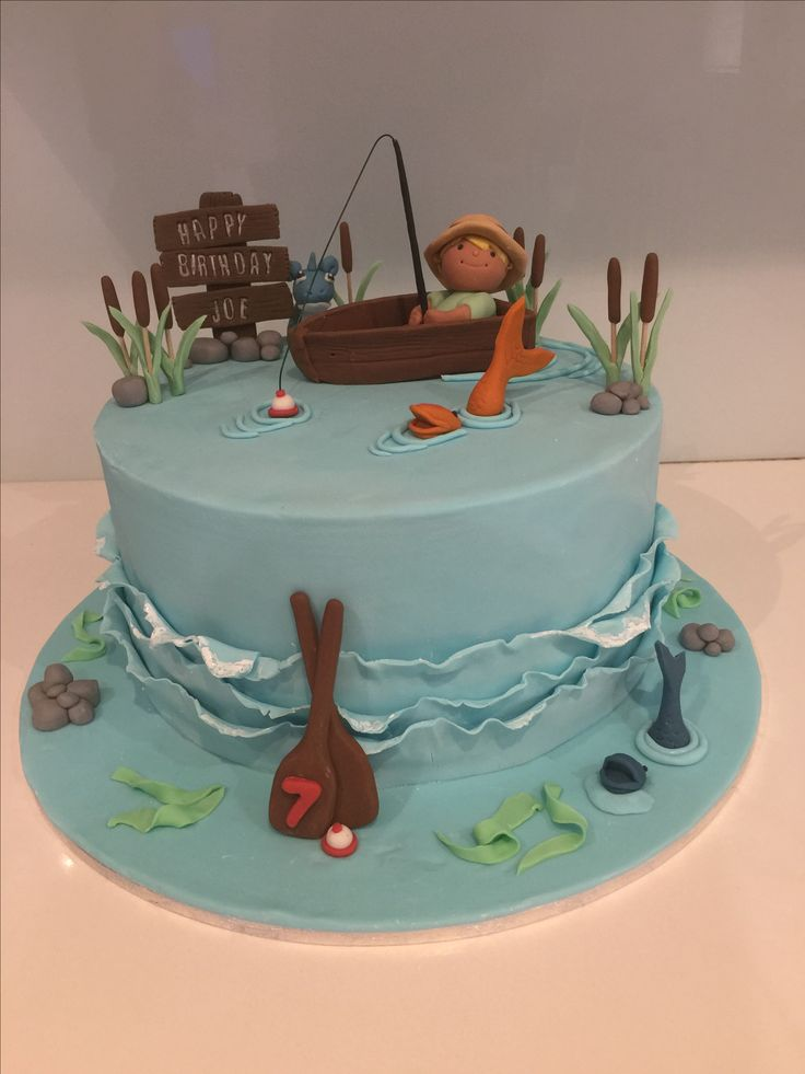 Fisherman Birthday Cake Topper