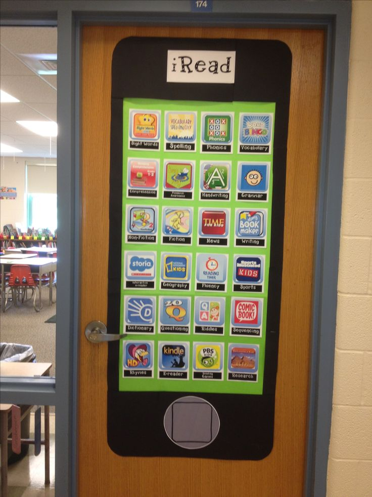 Reading and technology classroom door decor and bulletin board.  All apps are real and support reading and language arts skills and strategies.