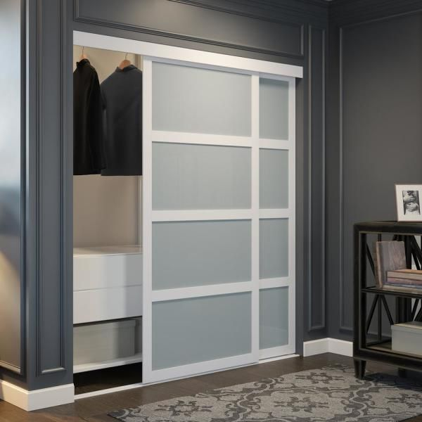 Colonial Elegance 72 In X 80 5 In Frosted Glass Fusion Plus White Interior Sliding Closet Door Co724litew The Home Depot In 2020 Sliding Closet Doors White Interior Sliding Doors Interior