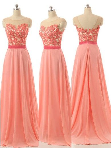 Scoop Neck Chiffon Sweep Train Appliques Lace Modest Bridesmaid Dresses - dressesofgirl.com