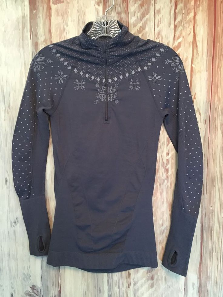 Zella Grey Snowfall Half Zip Compression Top Pullover Athleisure Yoga sz S EUC! #Zella #ShirtsTops