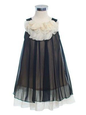 Lovely Black Floral Neckline Silky Chiffon Flower Girl Dress (Sizes 2-14 in 7 Colors)