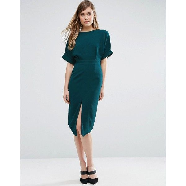 ASOS Wiggle Dress with Split Front (€39) via Polyvore featuring dresses, blue, slim prom dresses, holiday party dresses, going out dresses, party dresses and night out dresses