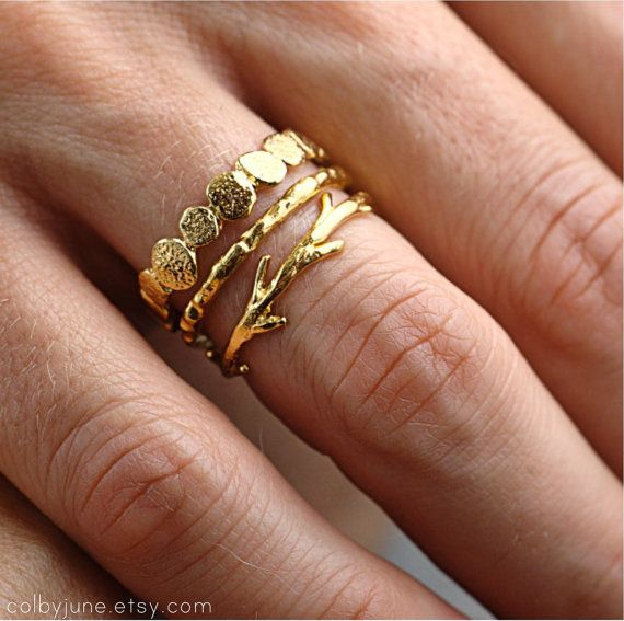 This is one of our most popular nature inspired stacking ring sets! This ring set includes one gold vermeil small pebble ring, one gold vermeil