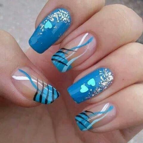 Ooooo hearts and stripes, decked in blue. LOVE IT!