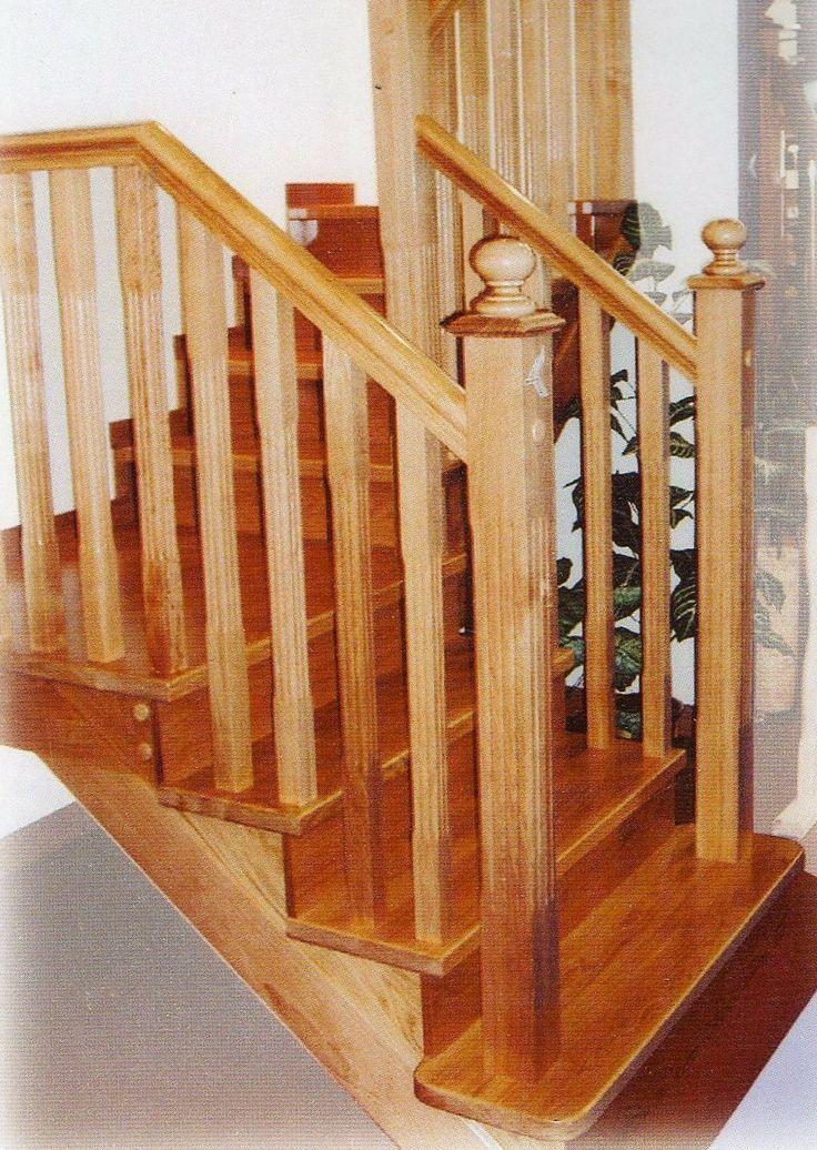 Escalera en madera maciza de roble barandillas pinterest - Barandillas de madera para interior ...