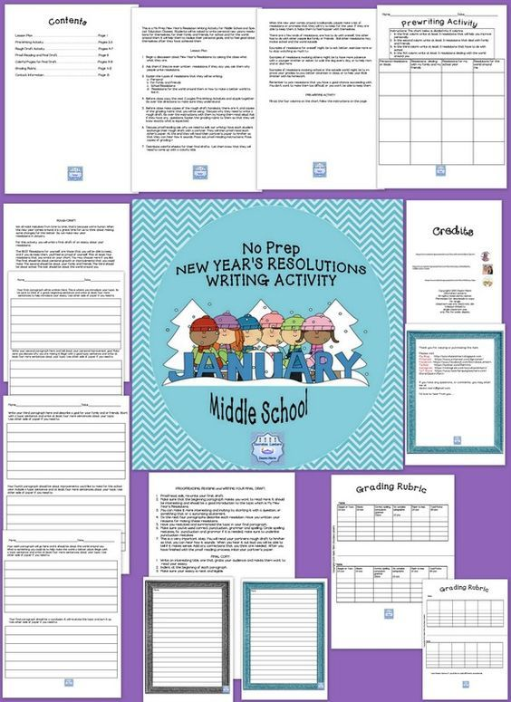 New Year's Reading & Writing Activities Middle School {