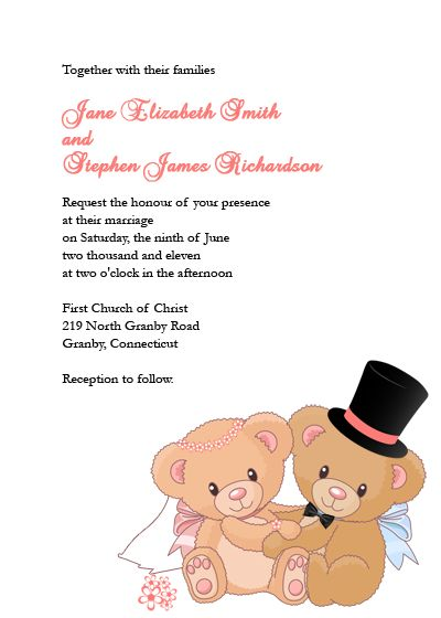 beary love wedding invitation just thought it was cute wedding