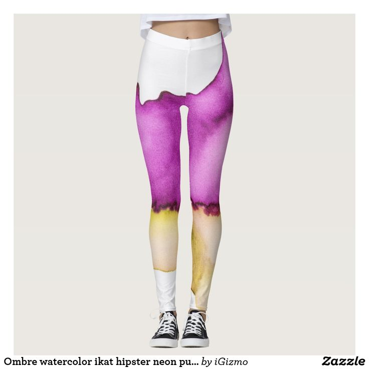 Ombre watercolor ikat hipster neon purple yellow leggings