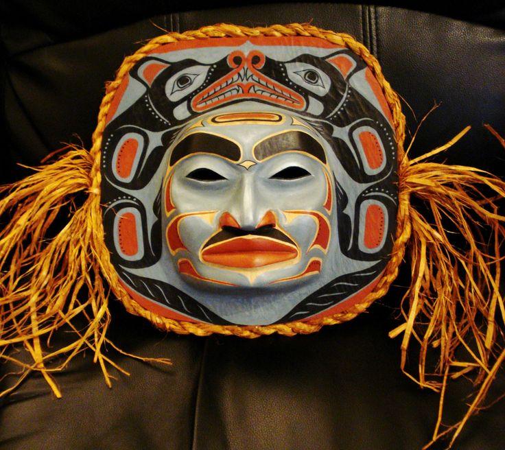 Northwest Coast Native Art LARGE WOLF MOON MASK SCULPTURE ...