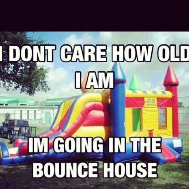 Sometimes, when the boss is gone, the employees set up bounce houses and have a great time!