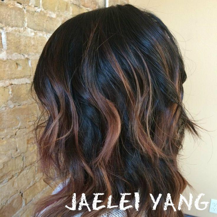 balayage brunette short hair