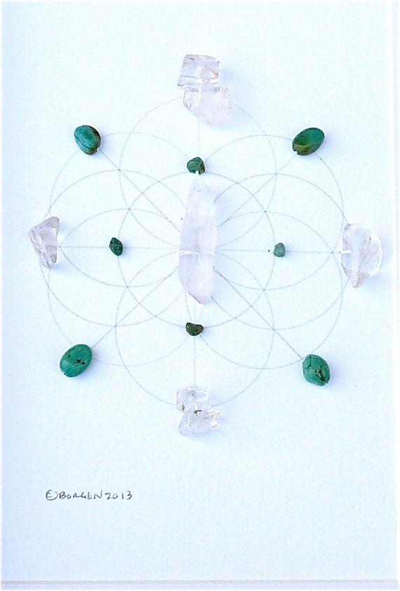 Vnitřní moudrost --- zarámovaný posvátný krystal mřížka --- tyrkysový, čirý křemen --- semeno života