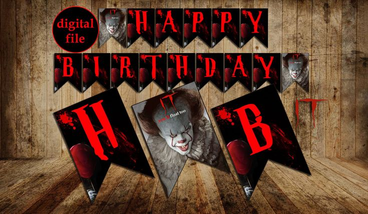 Pennywise Banner, Pennywise Banner Happy Birthday, Pennywise party, Pennywise Birthday, Pennywise, pennywise clown, it, digital file