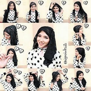 tutorial hijab black n white polkadot