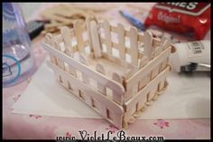 Basket made from popsicle sticks.