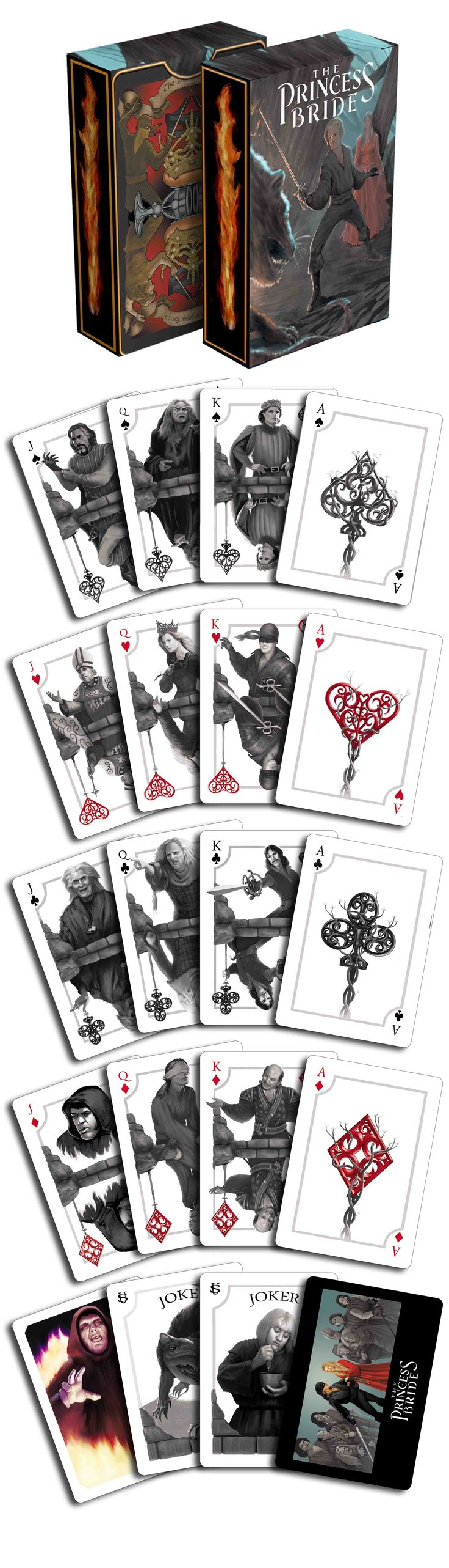 """The Princess Bride Storming the Castle playing cards by Albino Dragon. Have fun """"storming the castle"""" with this dramatic black and white deck. Now available on www.albinodragon.com"""