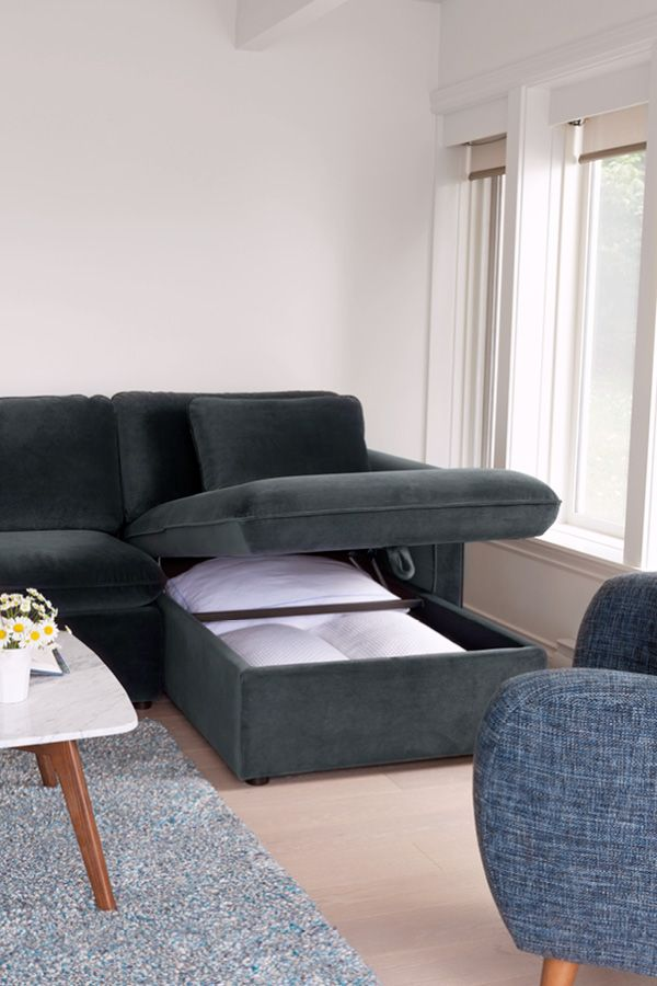 The Oneira Velvet Sofa Bed Is Storage Hungry Velvet Sofa Bed Furniture Apartment Sectional