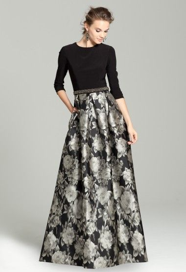 Three- Quarter Sleeve Dress with Printed Skirt  Mother of the Bride Dress