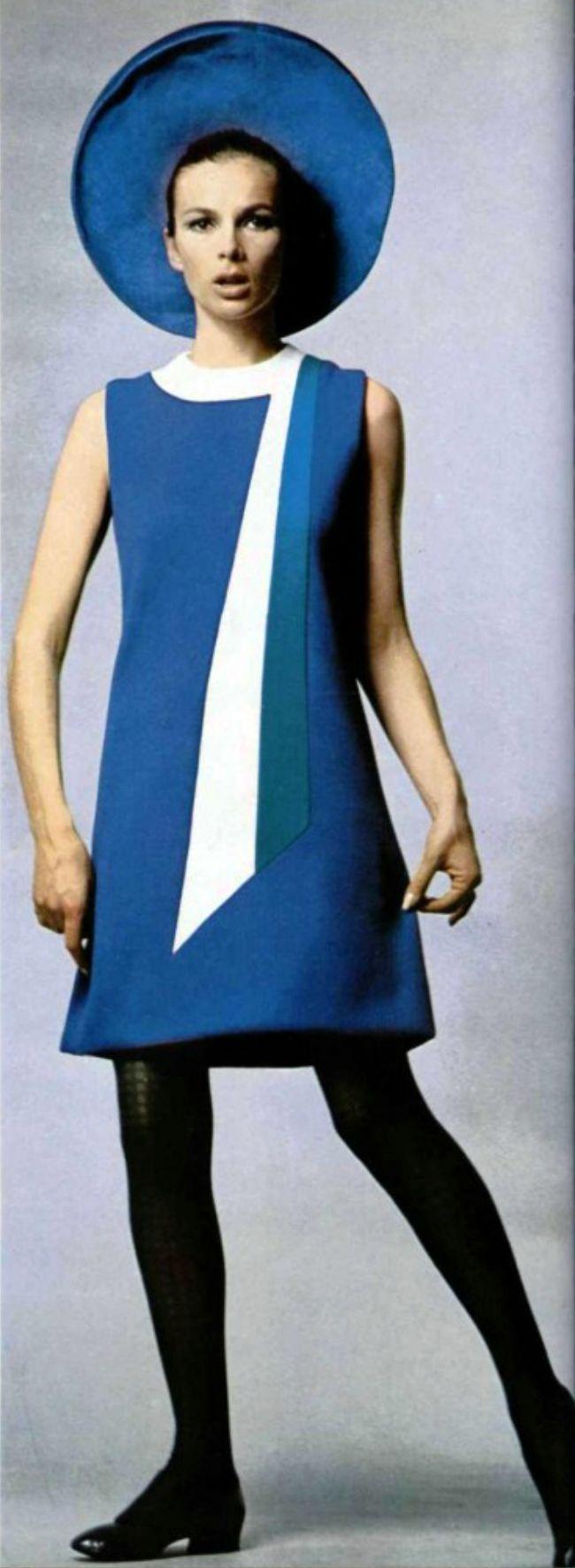 1967 L'officiel magazine Pierre Cardin. Gorgeous blue mini dress with matching blue hat.