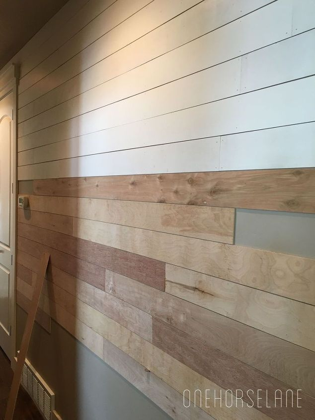 Easy, inexpensive and beautiful DIY shiplap wall.