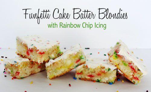 Funfetti Cake Recipe Joy Of Baking: Funfetti Cake Batter Blondies With Rainbow Chip Icing