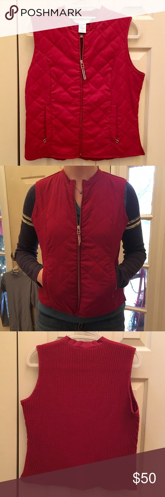 NWOT Red Geoffrey Beene Sport Vest In perfect condition. No signs of wear at all. The back is like a sweater and the front is the standard vest look. Great piece for cooler weather/layering. The red is awesome for an accent piece. Geoffrey Beene Jackets & Coats Vests