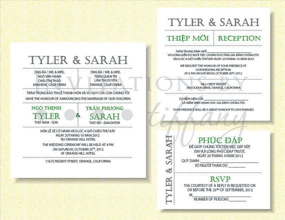 Word Document Bilingual Vietnamese Wedding Invitation Wording