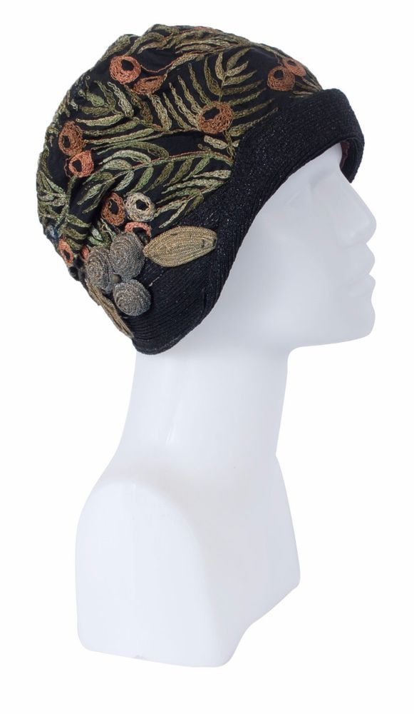 1bb0c9b38f2356 Vintage 1920s Black Flapper Cloche Hat w/Three Dimensional Art Deco  Embroidery | Clothing, Shoes & Accessories, Vintage, Vintage Accessories |  eBay!