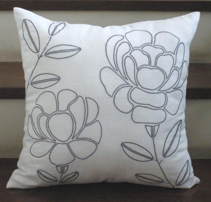 Gray Flower Pillow Cover, Decorative Throw Pillow Cover, White Linen Gray Embroidery, Accent Pillow 18 x 18, Cushion Cover, Pillow Sham. $21.00, via Etsy.