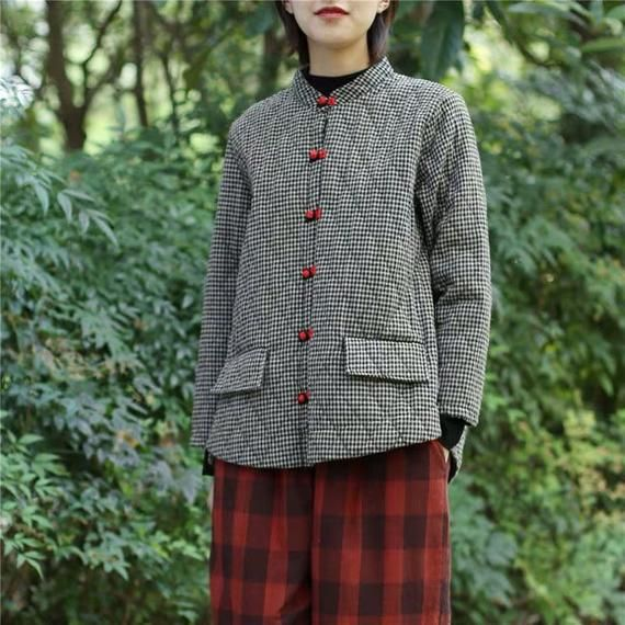Women Warm Light Weight Plaid Coat Comfortable Plaid Jackets Plus Size Cotton Trench Coat Vintage Outwear For Lady