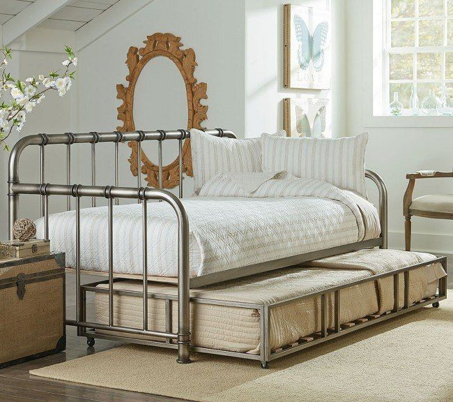 Tristen Metal Daybed W Trundle Aged Pewter Daybed With