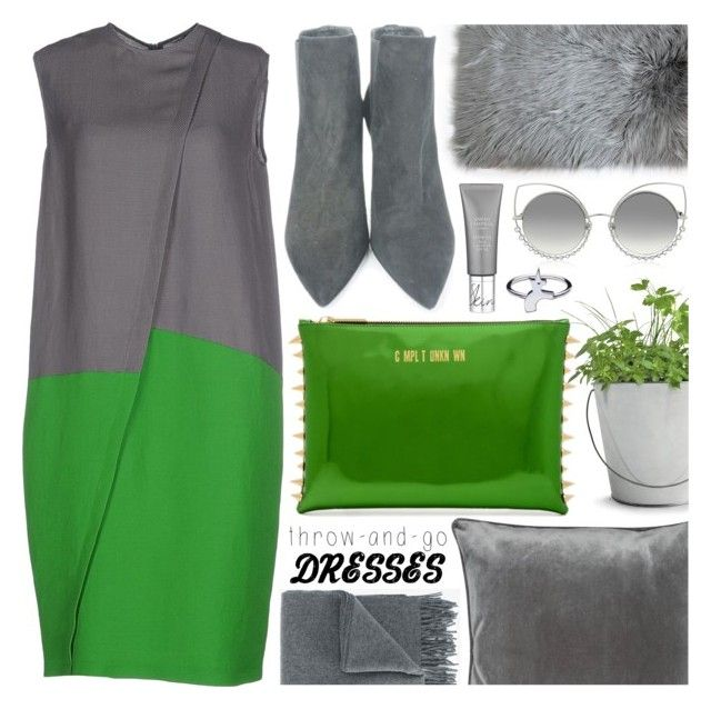 """""""Throw-and-Go Dress"""" by pastelneon ❤ liked on Polyvore featuring Cédric Charlier, Potting Shed Creations, Stuart Weitzman, Marc Jacobs, M&Co, Acne Studios, GREEN, dress, grey and Trendy"""