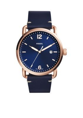 Fossil  Mens Commuter Three-Hand Date Leather Watch