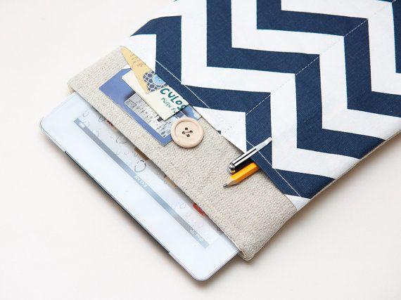 iPad sleeve. iPad mini with retina display or iPad AIR case with blue chevron pocket, sleeve, bag, pouch. Tablet case. iPad 1 2 3 4 cover.