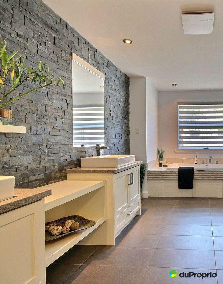 id es pour une salle de bain contemporaine tr s belle vanit on aime ce mur de pierres. Black Bedroom Furniture Sets. Home Design Ideas