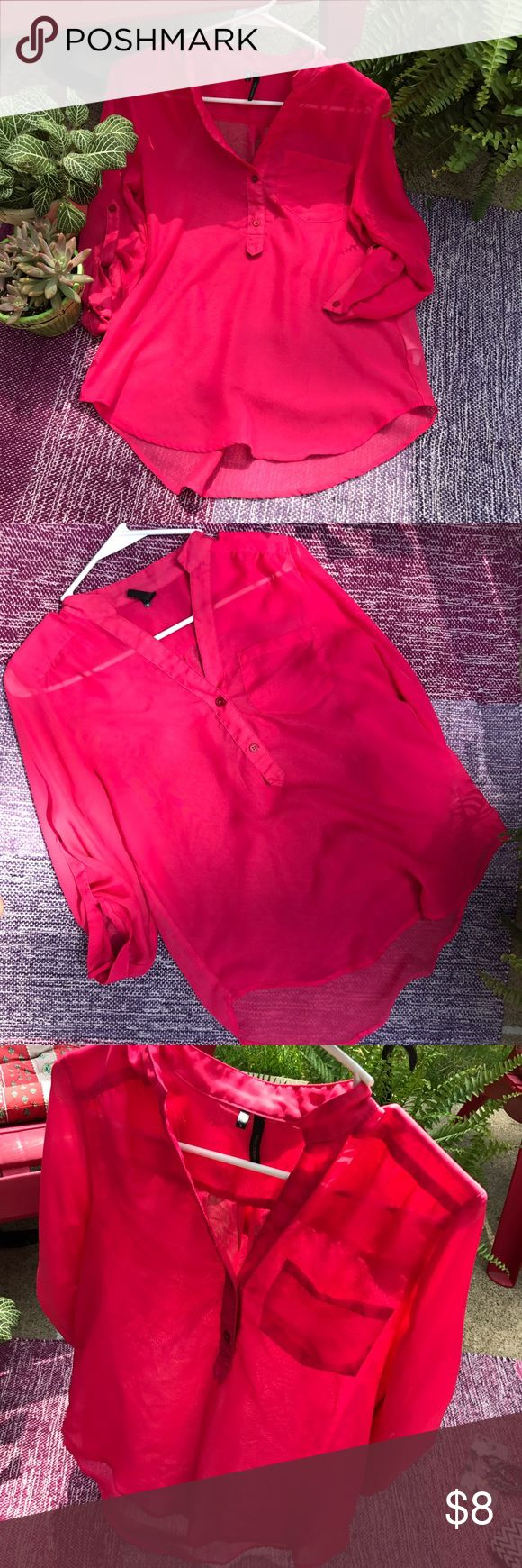 Hot pink top Sheer hot pink top, perfect for work and anything business casual. 💖💖💖 sleeves are 3/4. Maurices Tops Blouses