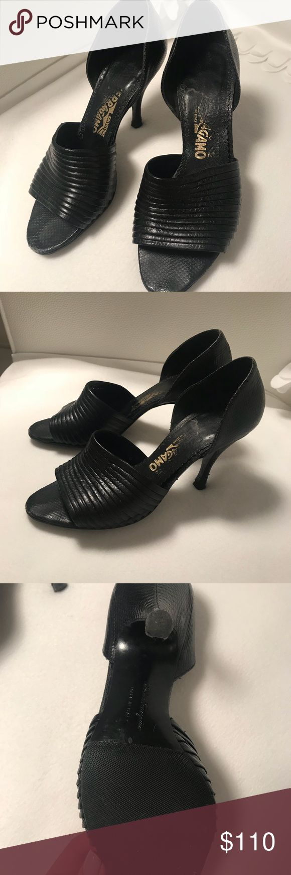 Like New Ferragamo Feminine D'Orsay Pump Beautiful great condition Ferragamo pumps. Comfortable to walk in and new heels and sole protector.   Gently worn and like new.   Cleaning closet and no room anymore.   🖤🖤 Salvatore Ferragamo Shoes Heels