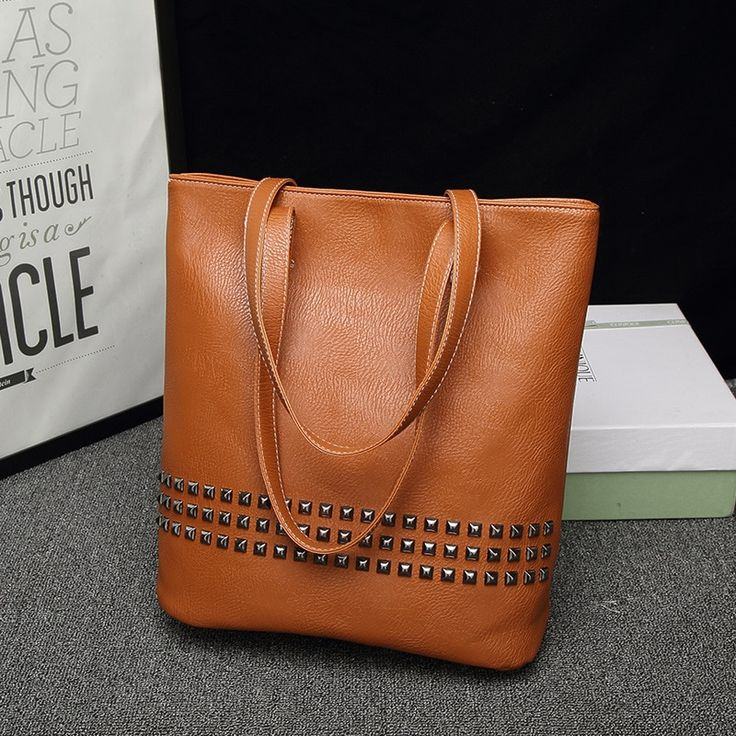 Strap Bucket Bags Women PU Leather Large Handbags Rivet Designer Causal Tote Ladies Shoulder Messenger Bags